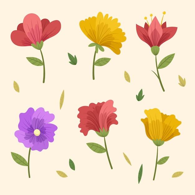 Vintage lente bloemencollectie Gratis Vector