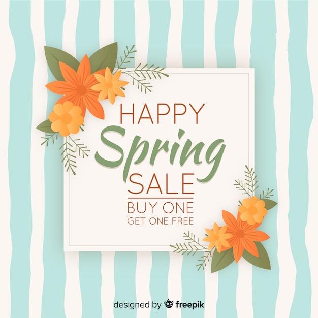 Vintage lente verkoop achtergrond Gratis Vector