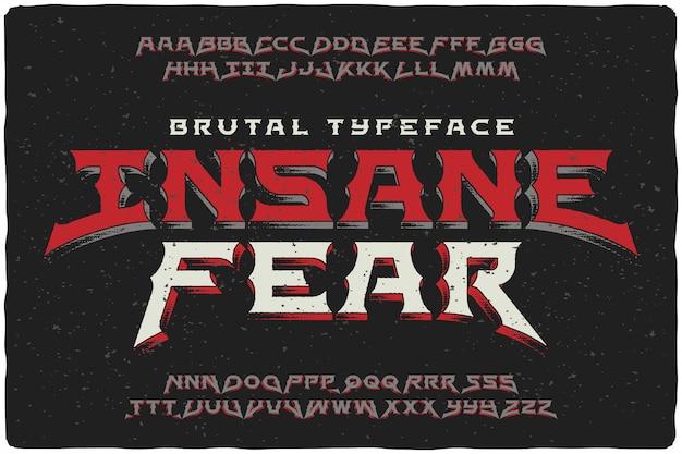 Vintage lettertype ingesteld met getextureerde effect Gratis Vector
