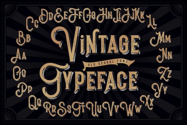 Vintage lettertype met decoratief geëxtrudeerd effect Premium Vector