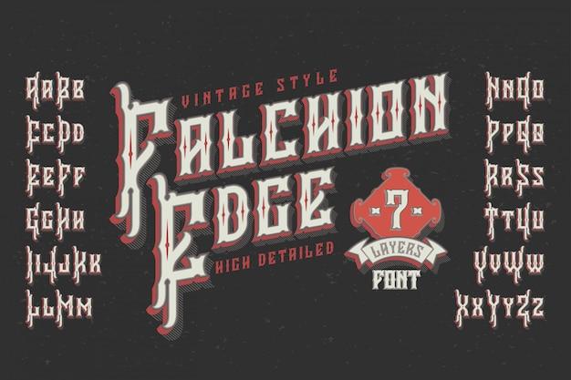 Vintage lettertype met geëxtrudeerd effect Gratis Vector