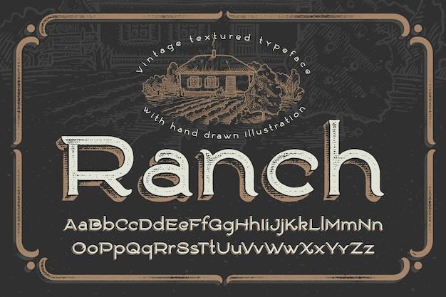 Vintage lettertype met getextureerde effect en ranch illustratie Gratis Vector