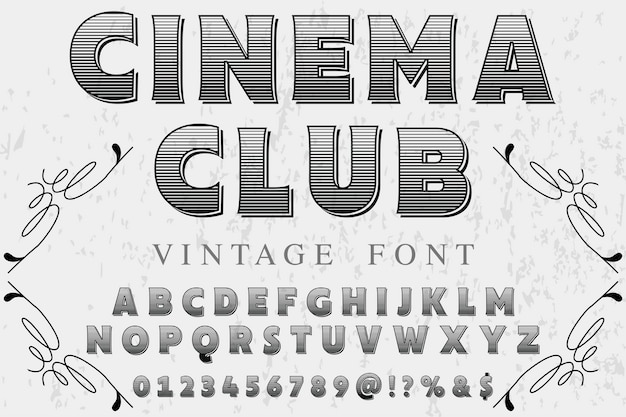 Vintage lettertype met het woord cinema club Premium Vector