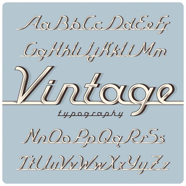 Vintage lettertypeset Premium Vector