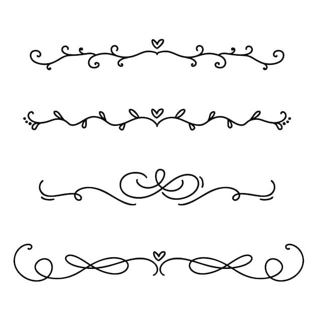 Vintage lijn elegante scheidingslijnen en scheidingslijnen, wervelingen en hoeken decoratieve ornamenten. Premium Vector