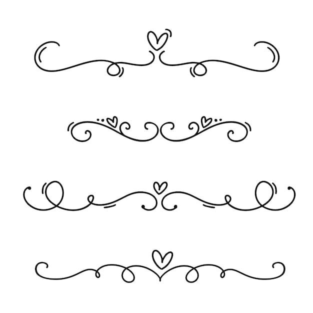 Vintage lijn elegante valentijn verdelers en scheiders, wervelingen en hoeken decoratieve ornamenten. Premium Vector