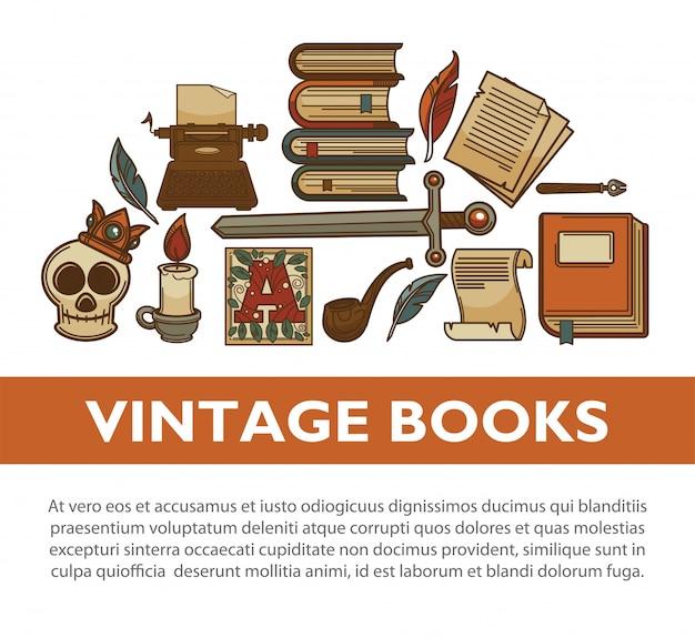 Vintage literatuur oude boeken vector poster van schrijver quill inkt pen typemachine vector iconen Premium Vector