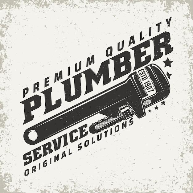 Vintage logo afbeelding, print stempel, loodgieter typografie embleem Premium Vector