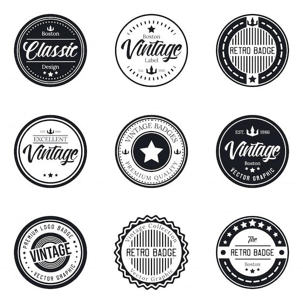 Vintage logo badge set collectie Premium Vector