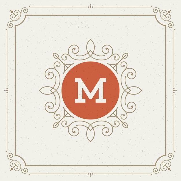 Vintage logo elegant bloeit ornamenten Premium Vector