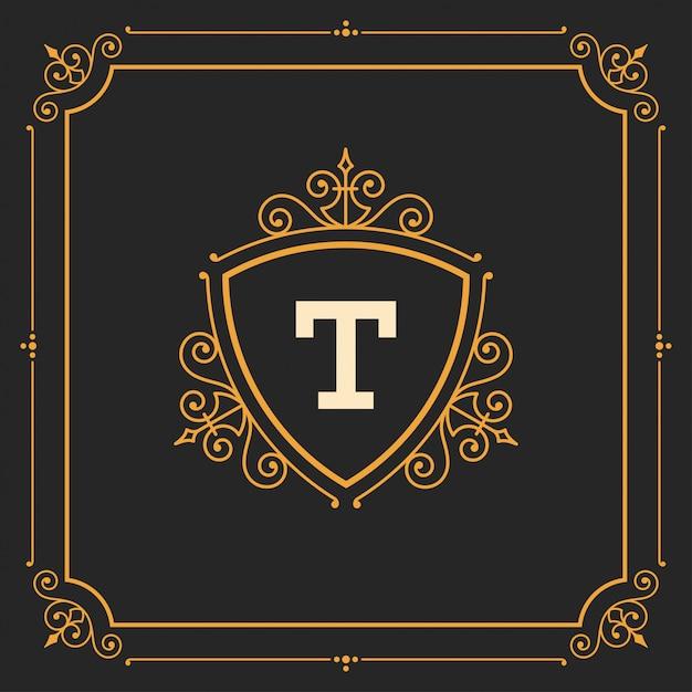 Vintage logo monogram sjabloon, gouden elegant bloeit ornamenten met sierlijke frame grens Premium Vector
