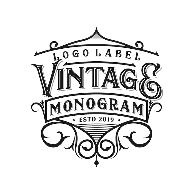 Vintage logo-ontwerp voor verschillende doeleinden Premium Vector