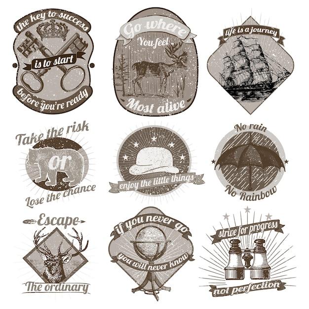 Vintage logo's collectie Gratis Vector