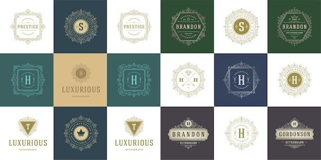 Vintage logo's en monogrammen instellen elegant bloeit lijntekeningen Premium Vector