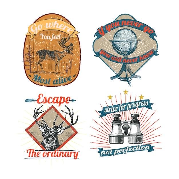 Vintage logo's en stickers collectie Gratis Vector