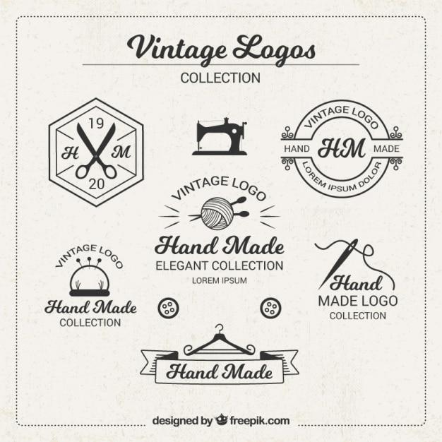 Vintage logo's voor ambachten Gratis Vector