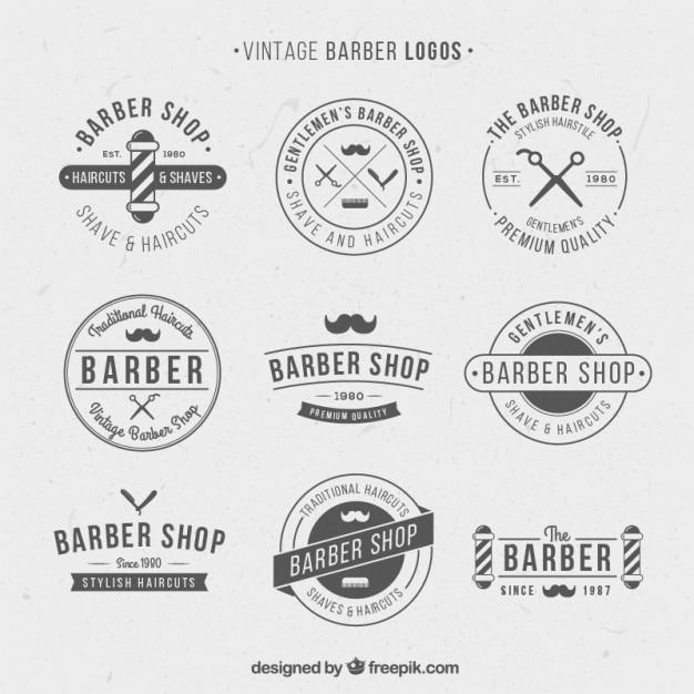Vintage logo's voor kapperszaak Gratis Vector