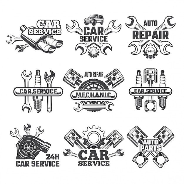 Vintage logo set auto tools Premium Vector