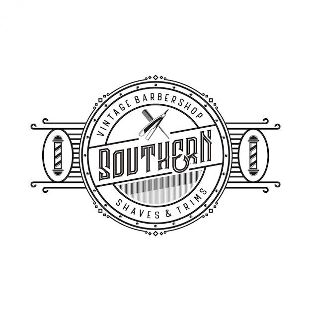 Vintage logo voor kapperszaak met schaarelementen en scheermesjes Premium Vector