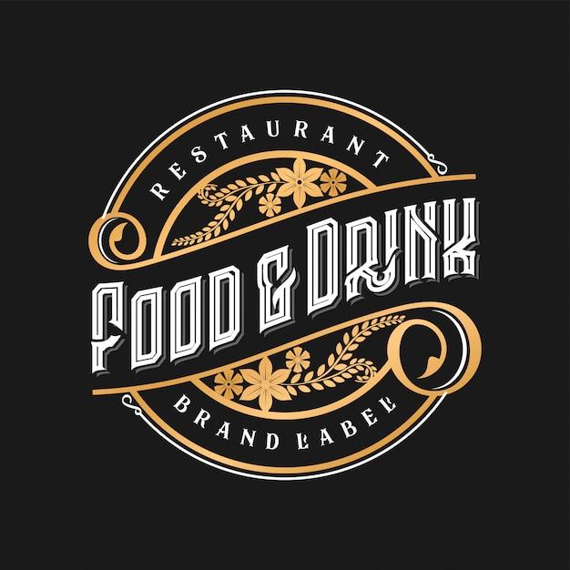 Vintage logo voor restaurant eten en drinken Premium Vector