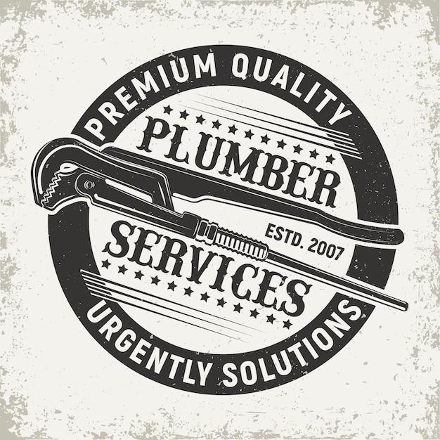 Vintage loodgieter service logo Premium Vector