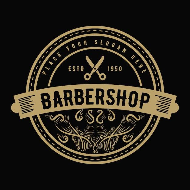 Vintage luxe stijl western antiek logo voor salon salon kapper en kapperszaak Premium Vector