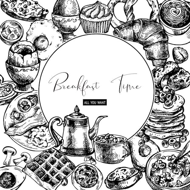 Vintage maaltijd ronde frame, ontbijt objecten, voedsel bovenaanzicht Premium Vector