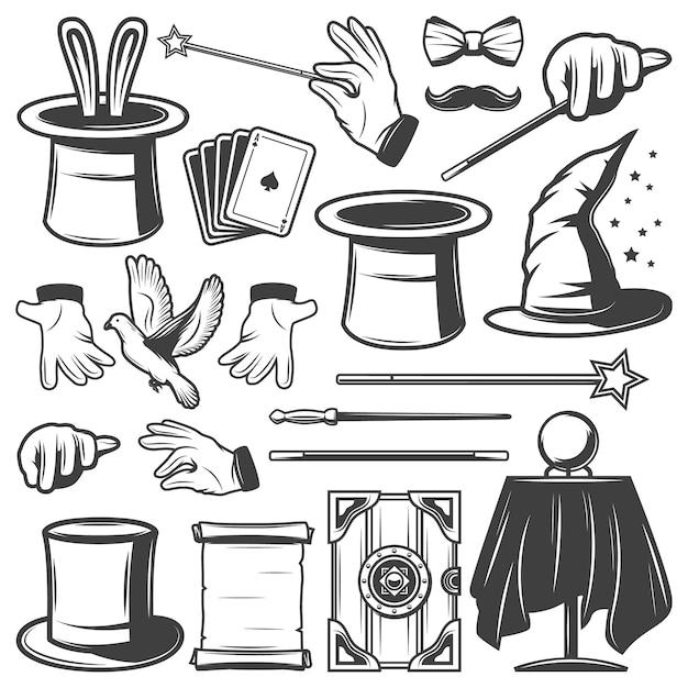 Vintage magic illusion elements-collectie Gratis Vector