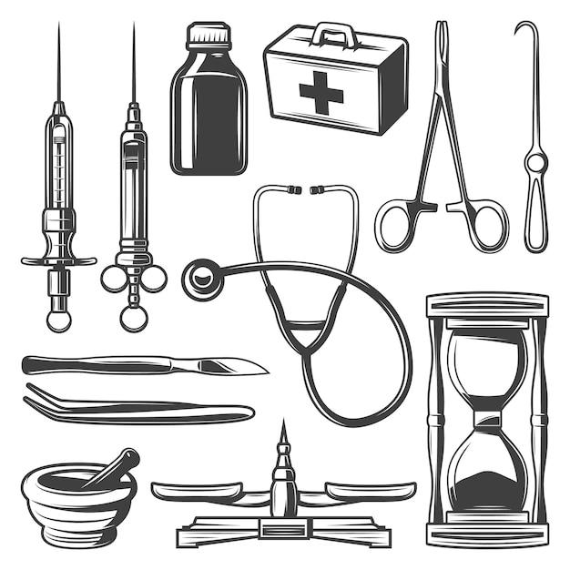 Vintage medische pictogrammen collectie met spuiten dokterstas stethoscoop zandloper mortel fles schalen chirurgische instrumenten geïsoleerd Gratis Vector