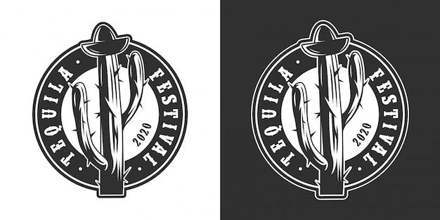 Vintage mexicaanse tequila festival ronde logo Gratis Vector