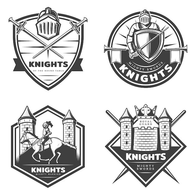 Vintage middeleeuwse emblemen set Gratis Vector