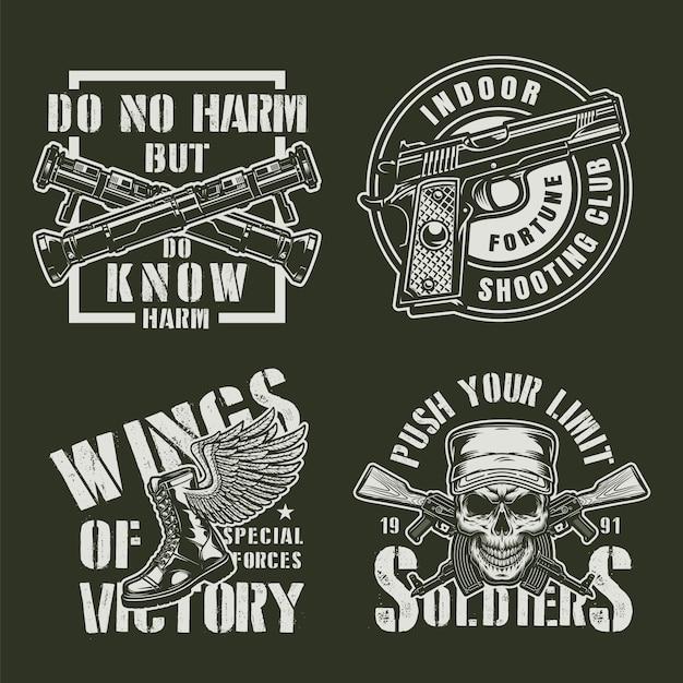 Vintage militaire badges instellen Gratis Vector