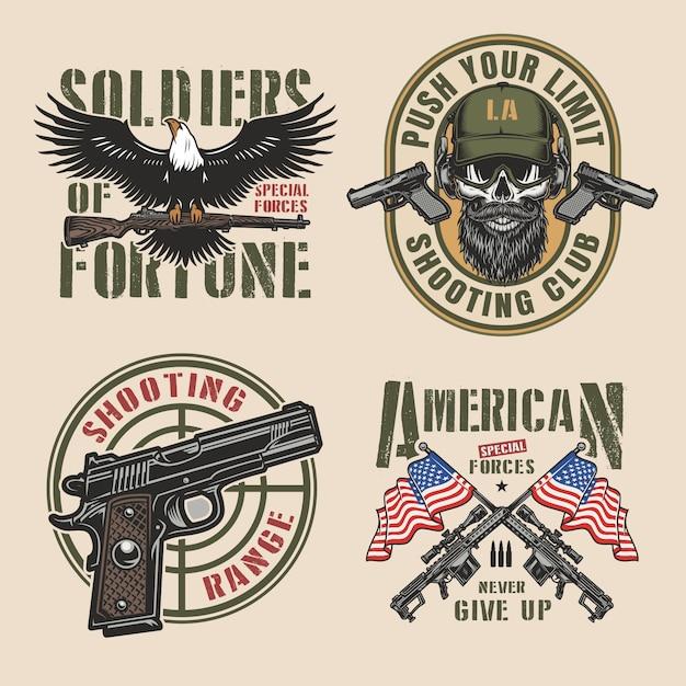 Vintage militaire kleurrijke badges set Gratis Vector