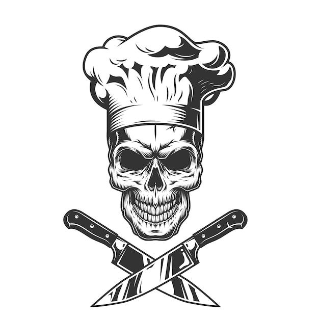 Vintage monochrome chef schedel Gratis Vector