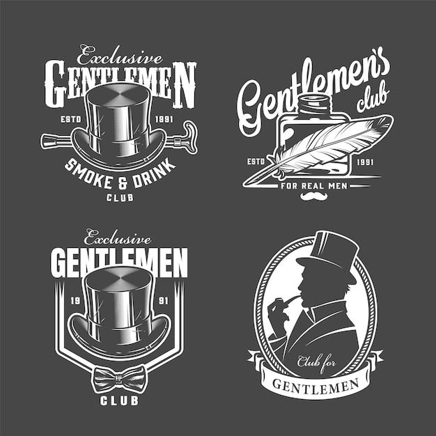 Vintage monochrome gentleman clublabels Gratis Vector