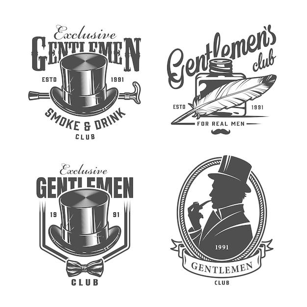 Vintage monochrome gentleman logo's Gratis Vector