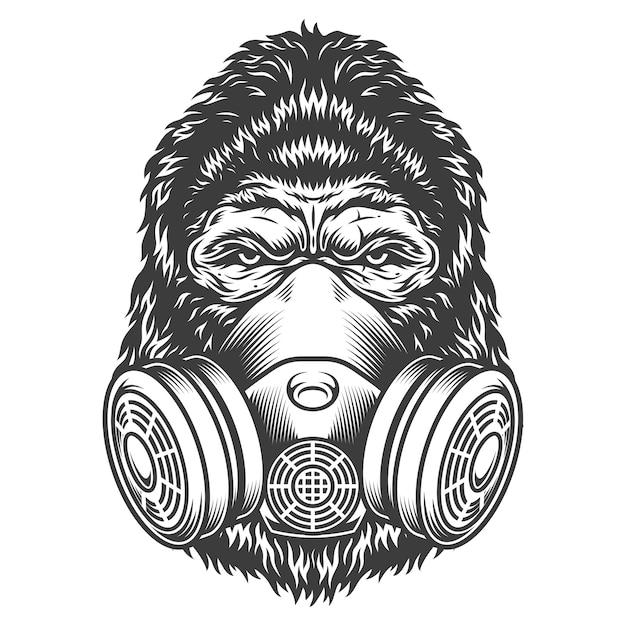 Vintage monochrome gorilla hoofd Gratis Vector