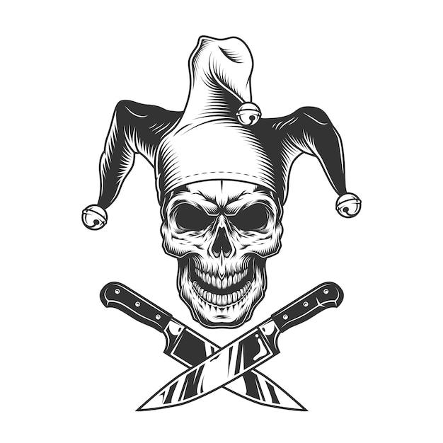 Vintage monochrome kwade nar schedel Gratis Vector