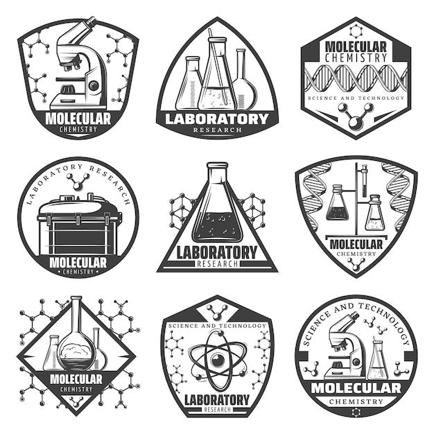 Vintage monochrome laboratoriumonderzoek labels set met inscripties wetenschappelijke apparatuur moleculaire verbindingen atomen cellen geïsoleerd Gratis Vector