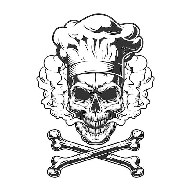 Vintage monochrome schedel met koksmuts Gratis Vector