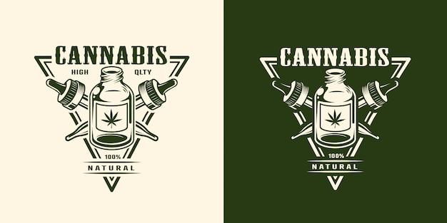 Vintage monochroom cannabis logo Gratis Vector