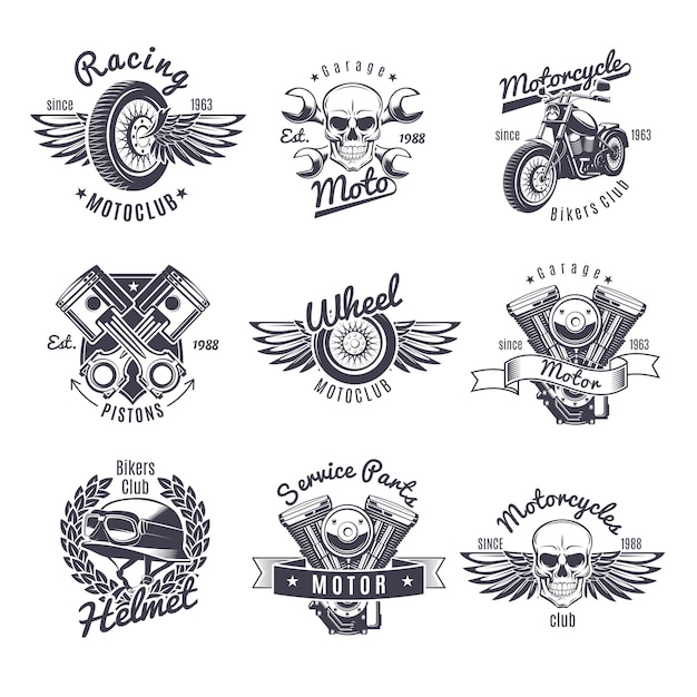 Vintage monochroom motorfiets etiketten instellen Gratis Vector