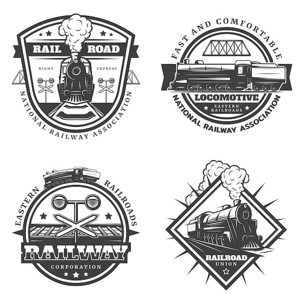 Vintage monochroom retro trein emblemen instellen Gratis Vector