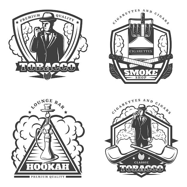 Vintage monochroom rook emblemen instellen Gratis Vector