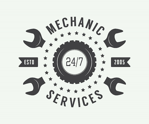 Vintage monteur label, embleem en logo Premium Vector