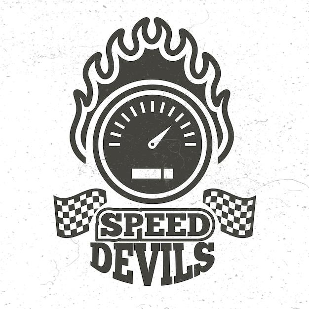 Vintage motor en motorfiets sport embleem met grunge effect Premium Vector