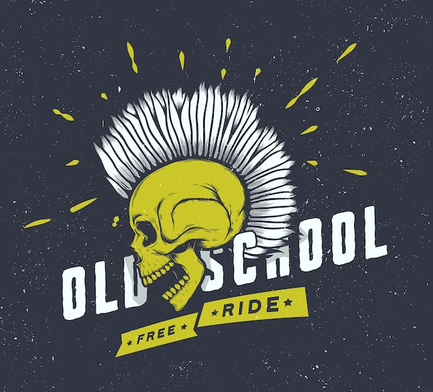 Vintage motorfiets graphics. biker t-shirt. motorfiets embleem. monochrome schedel. Premium Vector