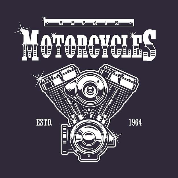Vintage motorfiets print. monochroom op donkere achtergrond Gratis Vector