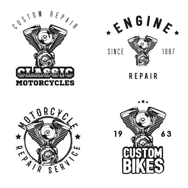 Vintage motorfiets reparatie logo's, motor service Premium Vector
