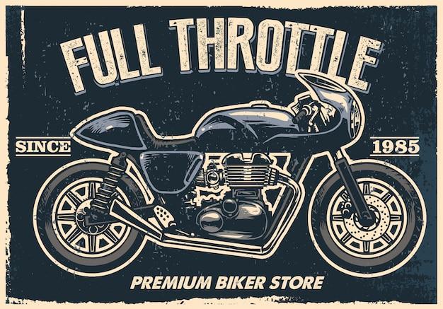 Vintage motorfiets winkel teken Premium Vector